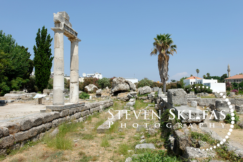 Kos Town. Restored columns from the Agora in the eastern Archeological zone. The Agora was one of the largest in the ancient world. Kos is part of the Dodecanese island group and birthplace of the ancient physician and father of medicine, Hippocrates.