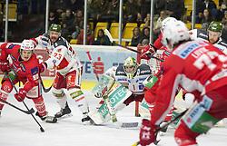 13.03.2019, Stadthalle, Klagenfurt, AUT, EBEL, EC KAC vs HCB Suedtirol Alperia, Viertelfinale, 1. Spiel, im Bild Niki KRAUS (EC KAC, #80), Stefano MARCHETTI (HCB Suedtirol Alperia, #23), Jacob SMITH (HCB Suedtirol Alperia, #1), Siim LIIVIK (EC KAC, #72) // during the Erste Bank Icehockey 1st quarterfinal match between EC KAC and HCB Suedtirol Alperia at the Stadthalle in Klagenfurt, Austria on 2019/03/13. EXPA Pictures © 2019, PhotoCredit: EXPA/ Gert Steinthaler