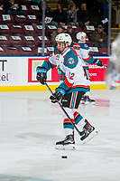 KELOWNA, CANADA - FEBRUARY 2: Cole Carrier #12 of the Kelowna Rockets warms up with the puck against the Kamloops Blazers on February 2, 2019 at Prospera Place in Kelowna, British Columbia, Canada.  (Photo by Marissa Baecker/Shoot the Breeze)