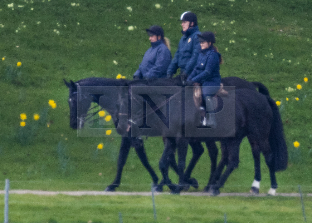 © Licensed to London News Pictures. 27/03/2021. Windsor, UK. Prince Andrew, Duke of York is seen horse riding at Windsor Castle. The Duke of Edinburgh has returned to WIndsor after being in St Barts and Edward VII hospitals. Photo credit: Peter Macdiarmid/LNP