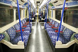 © Licensed to London News Pictures. 04/03/2020. London, UK. An empty Piccadilly line tube carriage just before 4pm as members of public are either working from home or not travelling on the tube system due to Coronavirus outbreak. Fifty one people have tested positive of Coronavirus (Covid-19) in the UK. Photo credit: Dinendra Haria/LNP