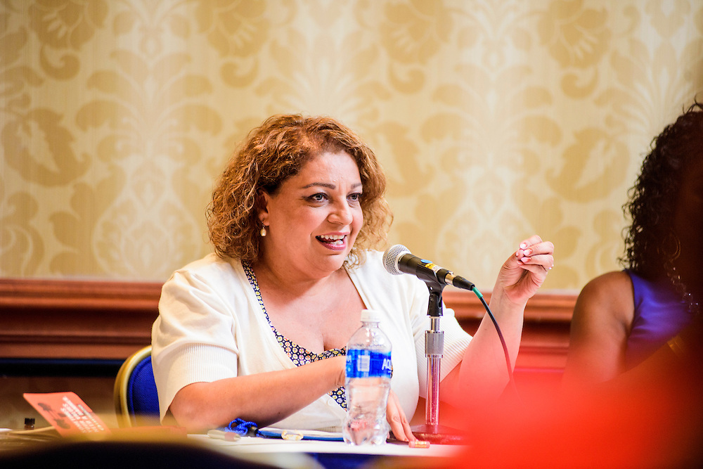 """Washington, D.C. - August 05, 2016: <br /> Martha Dina Arguello, Executive Director of Physicians for Social Responsibility speaks during the Earthjustice hosted panel """"Environmental Justice 101"""" during the National Association of Black Journalists/National Association of Hispanic Journalists event Friday Aug. 5., 2016 from 2:45-4:15 pm at the Washington Marriott Wardman Park. <br /> <br /> <br /> Panelists are: Moderator, Darryl D. Fears, Reporter, The Washington Post, Martha Dina Arguello, Executive Director of Physicians for Social Responsibility, Dr. Beverly Wright, Executive director of Dillard University's Deep South Center for Environmental Justice, Dr. Robert Bullard, Dean of the School of Public Affairs at Texas Southern University, and Lisa Garcia, Vice President of Healthy Communities at Earthjustice.<br /> <br /> CREDIT: Matt Roth"""