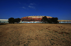A general view of  Soccer City stadium in Johannesburg, South Africa as work continues