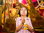 """23 JUNE 2015 - MAHACHAI, SAMUT SAKHON, THAILAND:  A woman prays at the City Pillar Shrine in Mahachai. The Chaopho Lak Mueang Procession (City Pillar Shrine Procession) is a religious festival that takes place in June in front of city hall in Mahachai. The """"Chaopho Lak Mueang"""" is  placed on a fishing boat and taken across the Tha Chin River from Talat Maha Chai to Tha Chalom in the area of Wat Suwannaram and then paraded through the community before returning to the temple in Mahachai.  PHOTO BY JACK KURTZ"""