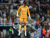 NEWCASTLE UPON TYNE, ENGLAND - SEPTEMBER 17: Karl Darlow of Newcastle United warms up before kick off during the Premier League match between Newcastle United and Leeds United at St. James Park on September 17, 2021 in Newcastle upon Tyne, England. (Photo by MB Media)