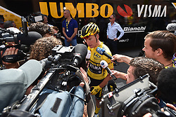 July 8, 2019 - Binche, Belgium - Dutch Mike Teunissen of Team Jumbo-Visma wearing the yellow jersey of leader in the overall ranking, talks to journalists at the third stage of the 106th edition of the Tour de France cycling race, a 215 km from Binche in Belgium to Epernay in France, Monday 08 July 2019. This year's Tour de France starts in Brussels and takes place from July 6th to July 28th. (Credit Image: © David Stockman/Belga via ZUMA Press)