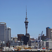 A view of the skyline of the City of Auckland showing the wharf area and Auckland Harbour with Sky Tower in the distance. Auckland, North Island, New Zealand. 26th November 2010. Photo Tim Clayton...