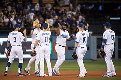 May 22, 2018 - Los Angeles, CA, U.S. - LOS ANGELES, CA - MAY 22: Los Angeles Dodgers team celebrate their 5-3 win over the Colorado Rockies in a Major League Baseball game between the Colorado Rockies and the Los Angeles Dodgers on May 22, 2018 at Dodger Stadium in Los Angeles, CA. (Photo by Kyusung Gong/Icon Sportswire) (Credit Image: © Kyusung Gong/Icon SMI via ZUMA Press)