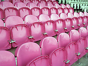 Dulwich Hamlet FC team colour stadium seating on the 26th January 2019 at Champion Hill in South London in the United Kingdom.