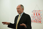 Ken Livingstone opens the auction. A very clear message in the back ground, an art piece by artist Bob and Roberta Smith, a.Art auction held at Gimpel Fils in support of Ken Livingstone's bid for London Mayor in May 2012.