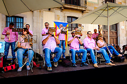 A band playing for dancing in the Palau de la Generalitat de Catalunya near Barcelona Cathedral<br /> <br /> (c) Andrew Wilson | Edinburgh Elite media