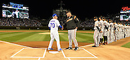 CHICAGO, IL - OCTOBER 7:  Manager Joe Maddon #70 of the Chicago Cubs shakes hands with Manager Bruce Bocy #15 of the San Francisco Giants prior to Game 1 of NLDS at Wrigley Field on Friday, October 7, 2016 in Chicago, Illinois. (Photo by Ron Vesely/MLB Photos via Getty Images) *** Local Caption *** Joe Maddon; Bruce Bochy