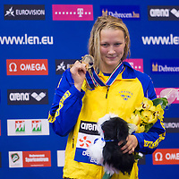 Sarah Sjoestroem of Sweden celebrates her victory in the Women's 100m Freestyle final of the 31th European Swimming Championships in Debrecen, Hungary on May 23, 2012. ATTILA VOLGYI