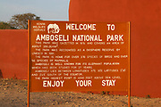 Amboseli National Park sign, Kenya, Africa