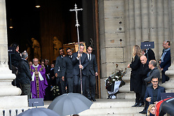 The casket leaving the funeral service for late photographer Peter Lindbergh held at Saint Sulpice church in Paris, France on September 24, 2019. Photo by ABACAPRESS.COM