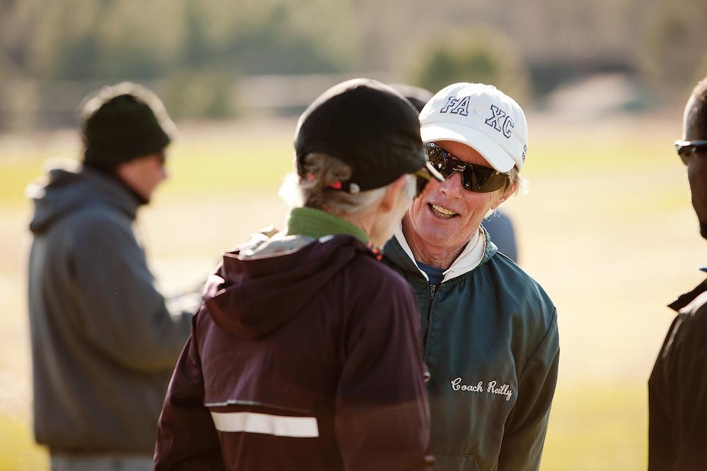New England High School XC Championship, Coach Bill Reilly Fryeburg Academy speaks with Joan Samuelson