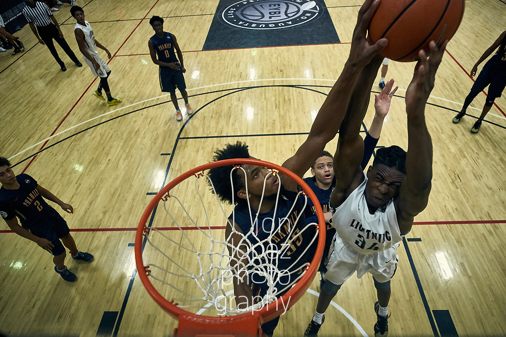NORTH AUGUSTA, SC. FRIDAY JULY 14, 2017. Peach Jam. Marvin Bagley III #35 of Nike Phamily blocks shot. NOTE TO USER: Mandatory Copyright Notice: Photo by Jon Lopez