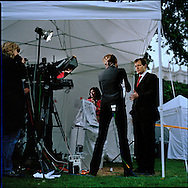 UK. London. The Village Green: From Blair to Brexit.<br /> A story on the relationship between the Media, Politicians and the public as they come together on College Green, a small patch of land next to The Houses of Parliament in Westminster. <br /> Photo shows Alastair Campbell, Prime Minister Tony Blair's former Press Secretary being interviewed by CNN on the day of Blair's resignation.<br /> Photo©Steve Forrest/Workers' Photos