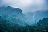 Waterfall in the Western Ghats Mountains, Munnar, Kerala, India