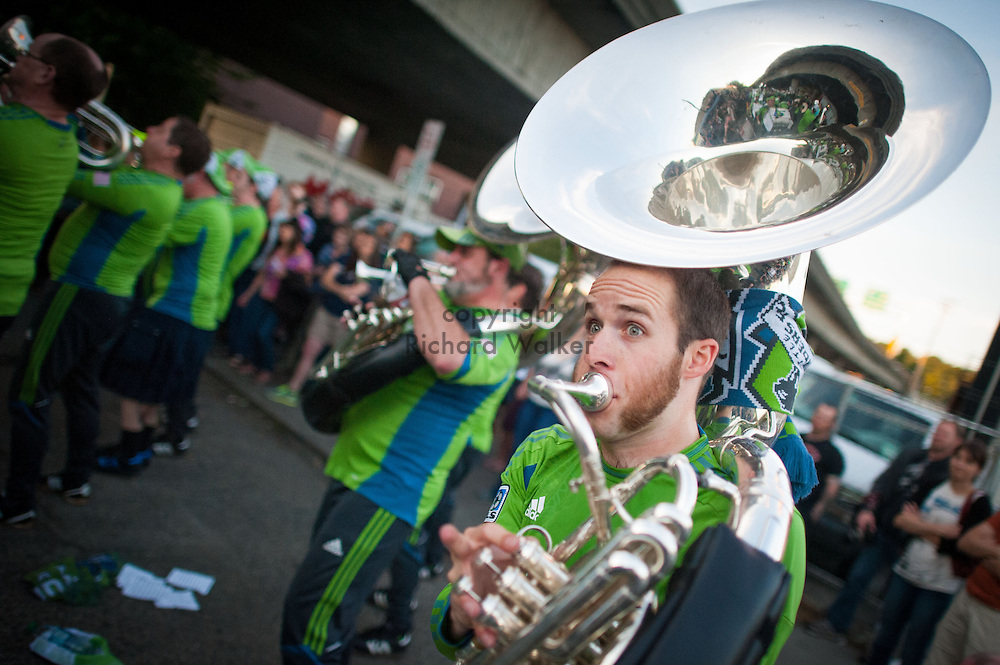 2013 June 21 - A sousaphone player with Seattle Sounders FC Sound Wave Band performs during Honk! Fest West 2013 in Georgetown, Seattle, WA. By Richard Walker