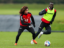 Han-Noah Massengo and Famara Diedhiou of Bristol City during a training session ahead of the FA Cup game with Portsmouth - Rogan/JMP - 07/01/2021 - Failand - Bristol, England.