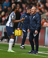 Preston North End's Daniel Johnson has words with Manager Frankie McAvoy<br /> <br /> Photographer Dave Howarth/CameraSport<br /> <br /> The EFL Sky Bet Championship - Blackpool v Preston North End - Saturday 23rd October 2021 - Bloomfield Road - Blackpool<br /> <br /> World Copyright © 2020 CameraSport. All rights reserved. 43 Linden Ave. Countesthorpe. Leicester. England. LE8 5PG - Tel: +44 (0) 116 277 4147 - admin@camerasport.com - www.camerasport.com