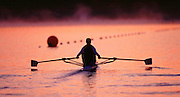 Sydney Olympic Games 2000. Penrith Lakes - Penrith - NSW - Australia. Alison Mowbray - early morning training. Rowing Course: Penrith Lakes, NSW Sunrise, Sunsets, Silhouettes 2000 Olympic Regatta Sydney International Regatta Centre (SIRC) [Mandatory Credit; Peter SPURRIER/Intersport Images] 2000 Olympic Rowing Regatta00085138.tif © Peter SPURRIER, Atmospheric, Rowing