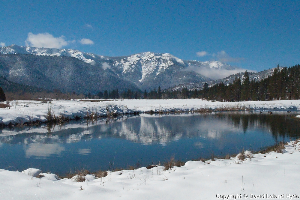 Grizzly Ridge From the Heart K Pond, Genesee Valley, California Mountains, Winter Scenes, Blue Skies, Blue Sky, Reflections Pool