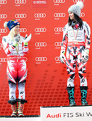 22.03.2015, Roc de Fer, Meribel, FRA, FIS Weltcup Ski Alpin, Meribel, Riesenslalomweltcup Gesamt, Damen, Siegerehrung, im Bild v.l. Eva-Maria Brem (AUT, 2. Platz), Anna Fenninger (AUT, 1. Platz) am Podium für den RiesenslalomWeltcup // second placed Eva-Maria Brem of Austria ( L ), first placed Anna Fenninger of Austria ( R ) during the overall winner Ceremony for the lady's Giant Slalom FIS World Cup at the Roc de Fer in Meribel, France on 2015/03/22. EXPA Pictures © 2015, PhotoCredit: EXPA/ Erich Spiess