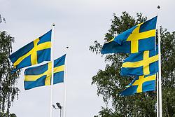 June 6, 2017 - Helsingborg, SVERIGE - 170606 Svenska flaggor under en trÅning med U21-landslaget i fotboll den 6 juni 2017 i Helsingborg  (Credit Image: © Ludvig Thunman/Bildbyran via ZUMA Wire)
