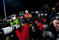 """Photographers during 2nd Run of 4th Men's Slalom at FIS Alpine Ski World Cup  """"Vip Snow Queen Trophy"""" 2012 on January 5, 2012 at Red Run course, Sljeme, Zagreb, Croatia.  (Photo By Vid Ponikvar / Sportida.com)"""