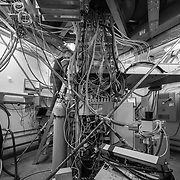 Nathan Precup in the MAPO lab just below the Keck Array telescope. He told me that this messy tangle of wires was giving him sleepless nights, and he couldn't wait to sort it out.