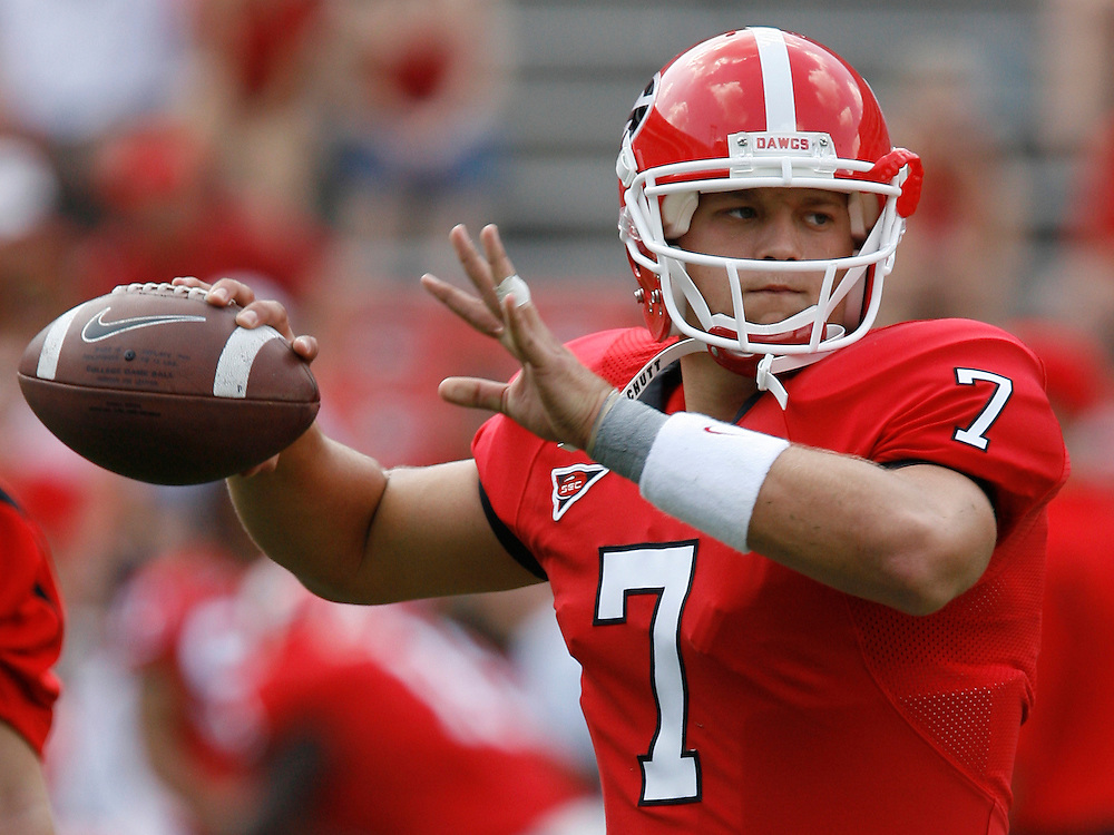 Georgia QB Matthew Stafford throws a practice pass before the game between the University of Georgia Bulldogs and University of Alabama-Birmingham (UAB) Blazers at Sanford Stadium in Athens, GA on September 16, 2006.  The Bulldogs beat the Blazers 34-0.