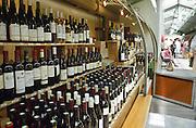 Wine shop at the market Marche des Enfants Rouge in Marais. Paris, France.