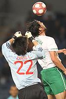 20100303: COIMBRA, PORTUGAL - Portugal vs China: International Friendly. In picture: Hugo Almeida (Portugal) and Zhang Lu (China goalkeeper). PHOTO: CITYFILES