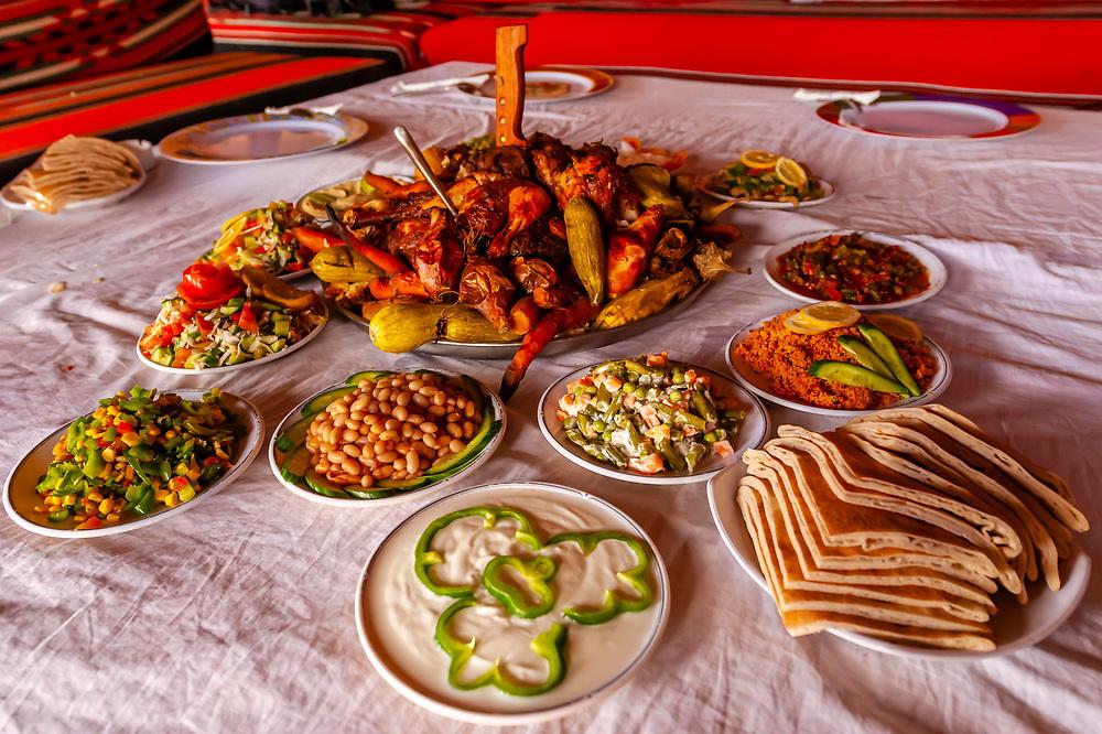 A Bedouin meal, Captain's Desert Camp, Arabian Desert, Wadi Rum, Jordan.