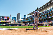 Cleveland Indians shortstop Asdrubal Cabrera waits on-deck as left fielder Shin Soo Choo bats against the Minnesota Twins at Target Field in Minneapolis, Minnesota on July 29, 2012.  The Twins defeated the Indians 5 to 1.  © 2012 Ben Krause