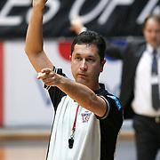 Referee's Halil BALDEMIR during their Turkish Basketball league Play Off semi final second leg match Besiktas between Efes Pilsen at the BJK Akatlar Arena in Istanbul Turkey on Wednesday 12 May 2010. Photo by Aykut AKICI/TURKPIX