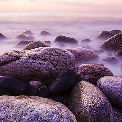 Rocks on the coast at dawn, Rye, New Hampshire.