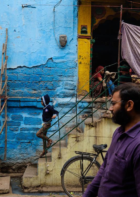 JODHPUR, INDIA - CIRCA NOVEMBER 2016:  People around the blue streets of Jodhpur