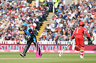 Lancashires Keaton Jennings almost run out during the Vitality T20 Finals Day semi final 2018 match between Worcestershire Rapids and Lancashire Lightning at Edgbaston, Birmingham, United Kingdom on 15 September 2018.