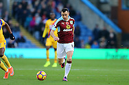 Dean Marney of Burnley in action. Premier League match, Burnley v Crystal Palace at Turf Moor in Burnley , Lancs on Saturday 5th November 2016.<br /> pic by Chris Stading, Andrew Orchard sports photography.