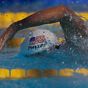 Michael Phelps, USA, in action in the Men's 200m freestyle heats at the World Swimming Championships in Rome on Monday, July 28, 2009. Photo Tim Clayton.