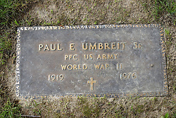 31 August 2017:   Veterans graves in Park Hill Cemetery in eastern McLean County.<br /> <br /> Paul E Umbreit Sr. Private First Class US Army World War II 1919 1976