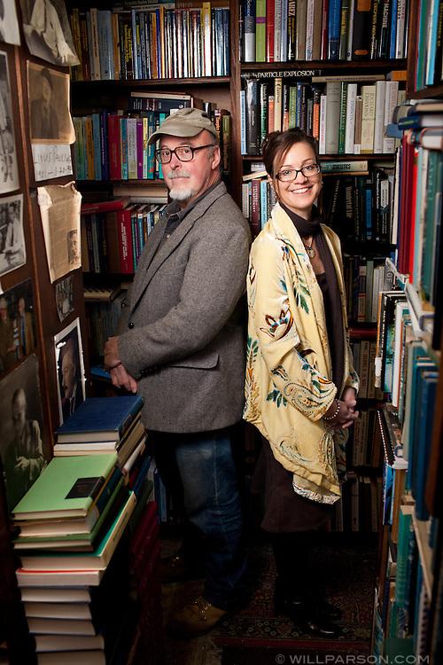 Dennis Wills and Nancy Warwick pose in Wills' store, DG Wills Books on Girard Avenue in La Jolla.