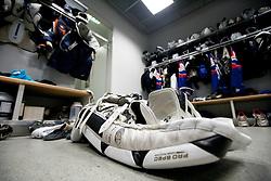 Equipment in Slovenian wardrobe prior to the ice-hockey match between Slovenia and Latvia of IIHF 2011 World Championship Slovakia, on May 5, 2011 in Orange Arena, Bratislava, Slovakia.  (Photo By Vid Ponikvar / Sportida.com)