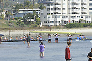 San Diego, California. USA. General Views, Crews boating from the beach. 2013 Crew Classic Regatta, Mission Bay.  10:53:05.  Saturday  06/04/2013   [Mandatory Credit. Peter Spurrier/Intersport Images]  ..