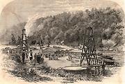 Oil springs at Tarr Farm, Oil Creek, Venango County, Pennsylvania, USA.  Engraving from 'The Illustrated London News' (London, 8 November 1862).  Fuel. Hydrocarbon.