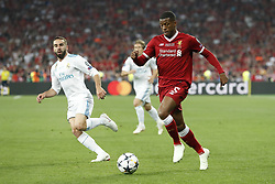 (L-R) Daniel Carvajal of Real Madrid, Georginio Wijnaldum of Liverpool FC during the UEFA Champions League final between Real Madrid and Liverpool on May 26, 2018 at NSC Olimpiyskiy Stadium in Kyiv, Ukraine