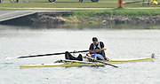 Hazewinkel, BELGIUM,  Men's Pair,  GBR M2-, stroke [left] Tom RANSLEY and Tom JAMES  exhausted after taking 3rd place in the A final,  at the Monday Morning Final.  British Rowing Senior Trails, Bloso Rowing Centre. Monday  12/04/2010.  [Mandatory Credit. Peter Spurrier/Intersport Images]